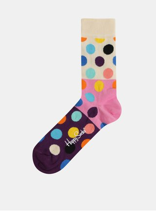 Ružovo–krémové dámske bodkované ponožky Happy Socks Big Dot