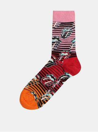 Černo-růžové dámské ponožky s motivem Happy Socks Rolling Stones