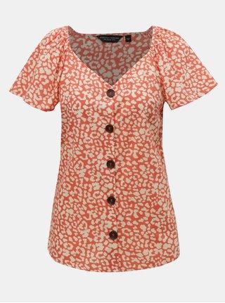 Bluza crem-oranj cu motiv leopard Dorothy Perkins