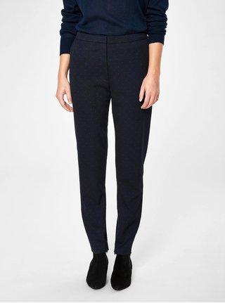 Tmavě modré puntíkované zkrácené kalhoty s vysokým pasem Selected Femme Muse
