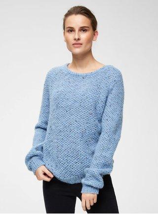 Světle modrý žíhaný svetr s příměsí vlny Selected Femme Mallorca