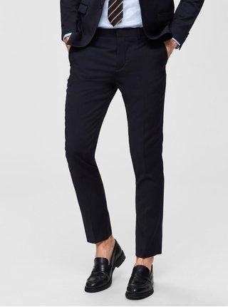 Pantaloni formali albastru inchis slim cu amestec de lana Selected Homme Lobill