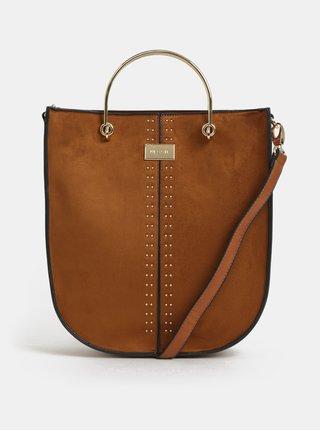 Hnědá kabelka s detaily v semišové úpravě Bessie London