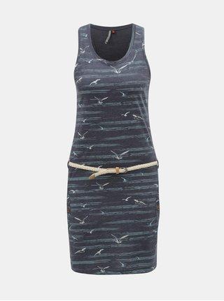 Tmavomodré šaty s motívom a vreckami Ragwear Kesy