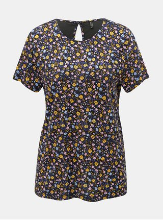 Tricou galben-albastru floral ONLY Nyla