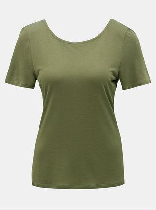 Khaki tričko s krajkovými detaily ONLY Flovely