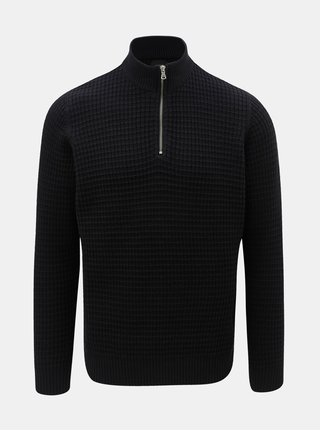 Tmavomodrý sveter so zipsom Burton Menswear London