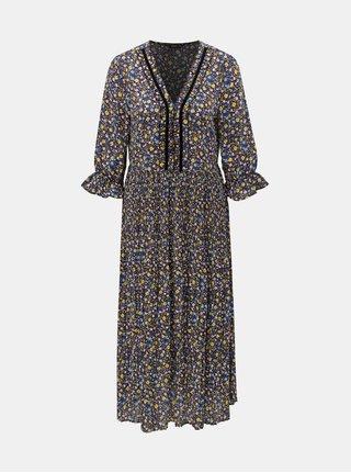 Žlto–modré kvetované plisované šaty ONLY Phoebe