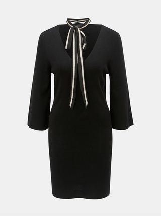 Čierne svetrové šaty s odnímateľnou mašľou Jacqueline de Yong Noora