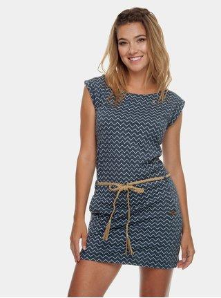 Modré vzorované šaty s vreckami Ragwear Tag