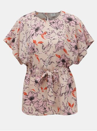 Bluza roz deschis florala cu snur Jacqueline de Yong Adria