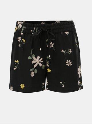 Pantaloni scurti negri florali Jacqueline de Yong Star