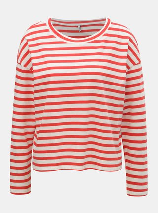 Tricou alb-rosu in dungi ONLY Brave