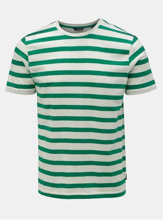 Tricou verde-alb in dungi ONLY & SONS Elky