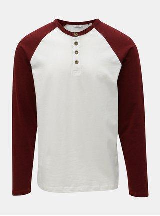 Biele tričko s dlhým rukávom a gombíkmi ONLY & SONS Elton