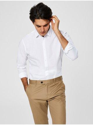 Camasa alba slim fit cu amestec de lana Selected Homme Linen
