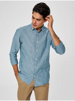 Světle zelená žíhaná slim fit košile s příměsí lnu Selected Homme Linen