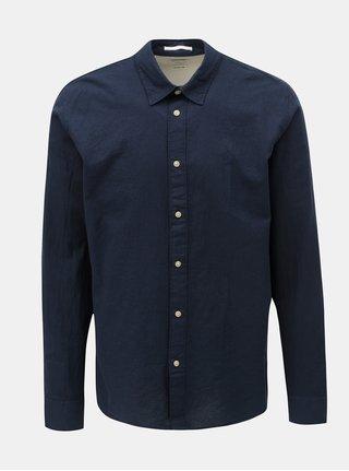 Tmavě modrá regular fit košile s příměsí lnu Selected Homme Michael