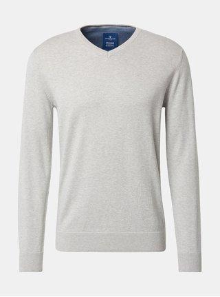 Svetlosivý pánsky melírovaný sveter Tom Tailor