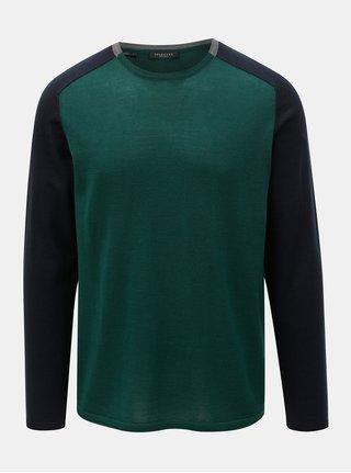 Tmavozelený tenký sveter z Merino vlny Selected Homme Thom