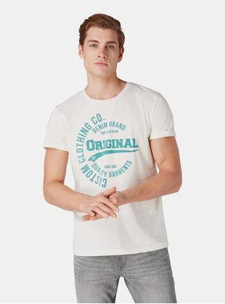 Krémové pánské tričko s potiskem Tom Tailor Denim