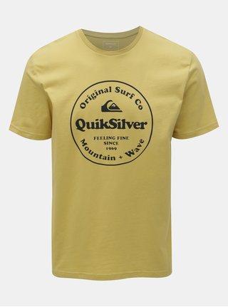 Tricou galben regular fit cu imprimeu Quiksilver
