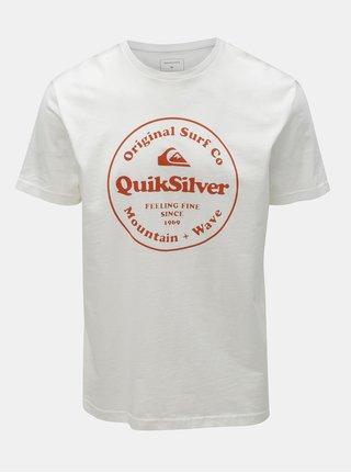 Tricou alb regular fit cu imprimeu Quiksilver