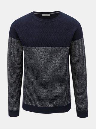 Tmavomodrý vzorovaný sveter Selected Homme Sander