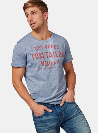 Modré pánske melírované tričko s potlačou Tom Tailor
