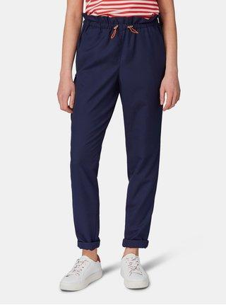 Tmavě modré dámské kalhoty s vysokým pasem Tom Tailor Denim