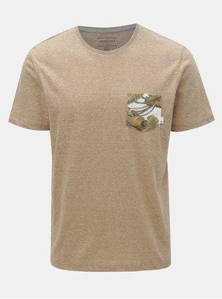 Svetlohnedé melírované modern fit tričko s vreckom Quiksilver
