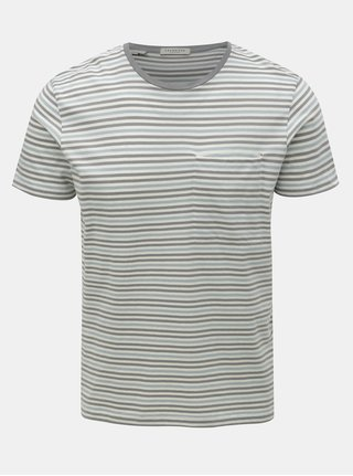 Krémovo-šedé pruhované tričko s kapsou Selected Homme Tim