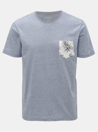 Svetlomodré melírované modern fit tričko s vreckom Quiksilver