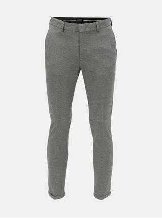 Sivé melírované skrátené skinny fit nohavice Selected Homme Jersey