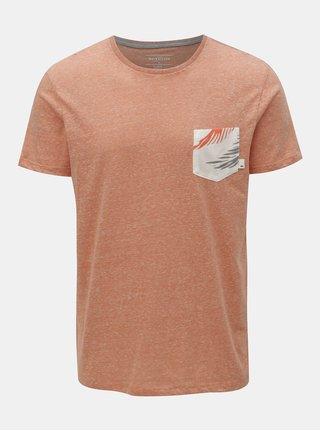 Oranžové melírované modern fit tričko s vreckom Quiksilver