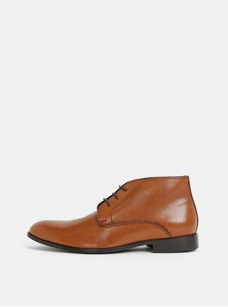 Hnědé pánské kožené kotníkové boty Burton Menswear London