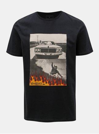 Tricou negru modern fit cu imprimeu Quiksilver
