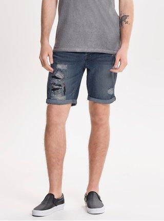 Pantaloni scurti albastri din denim cu print si aspect usat ONLY & SONS Paint