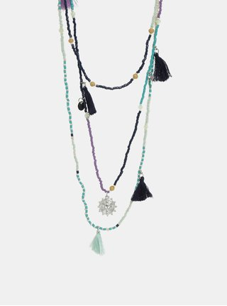 Modro-mentolový náhrdelník Pieces Benina
