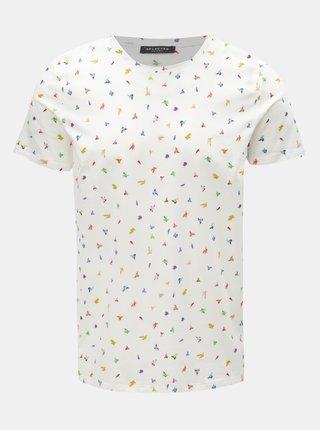 Bílé vzorované tričko Selected Homme Feddon