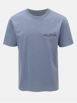 Svetlomodré 90´s fit tričko s potlačou na chrbte Quiksilver