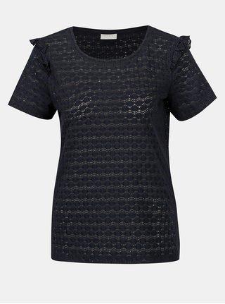 Bluza bleumarin cu perforatii si volane la maneci VILA Wisty