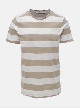 Bílo-hnědé pruhované basic tričko Jack & Jones Matrick
