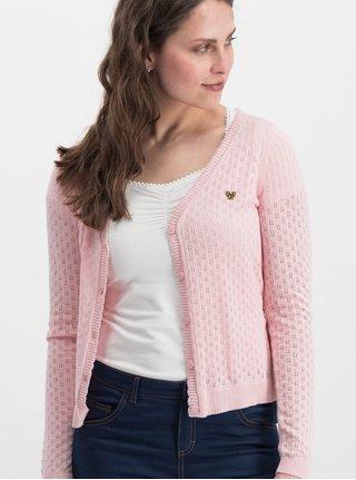 Cardigan roz cu model si cordon in talie Blutsgeschwister Logo Loving Heart