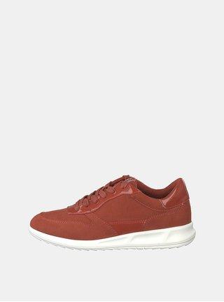 Pantofi sport rosii cu aspect de piele intoarsa Tamaris