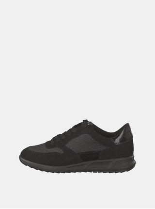 Pantofi sport negri cu aspect de piele intoarsa si detalii stralucitoare Tamaris
