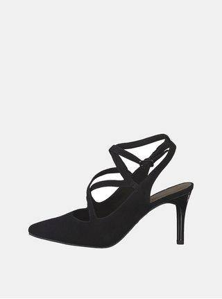Pantofi negri cu aspect de piele intoarsa Tamaris