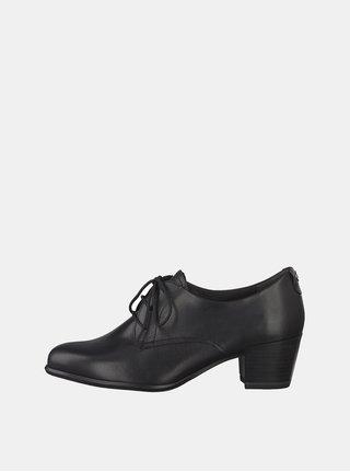 Pantofi negri din piele cu toc Tamaris Oceana
