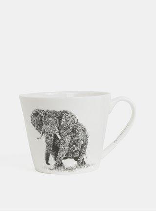 Bílý porcelánový hrnek s motivem slona Maxwell & Williams