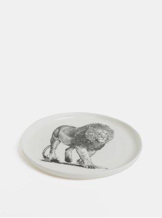 Bílý porcelánový talíř s motivem lva Maxwell & Williams